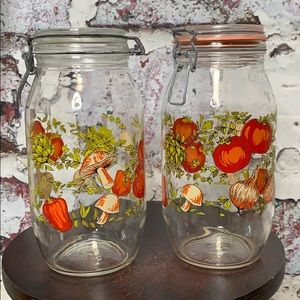 Lot of 2 vintage glass canister jars veggies